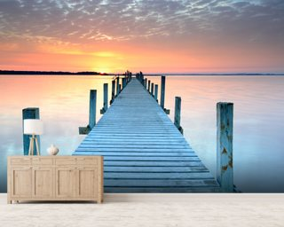Sunset Jetty Wall Mural Wallpaper Wall Murals Wallpaper