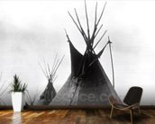Blackfoot Brave, near Calgary, Alberta, 1889 (b/w photo) wallpaper mural kitchen preview