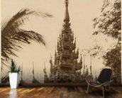 Temple in Mandalay, Burma, late 19th century (albumen print) (b/w photo) mural wallpaper kitchen preview