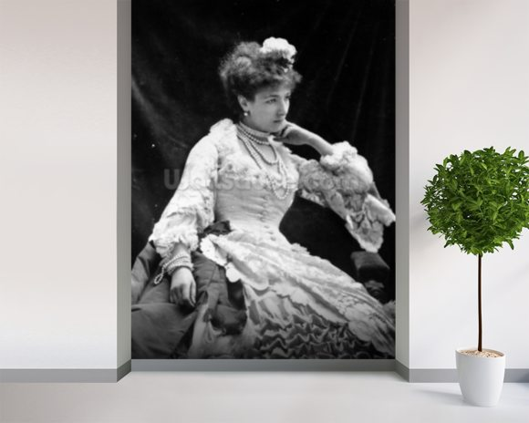 Sarah Bernhardt (b/w photo) wall mural room setting