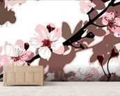 Japanese Blossom (colour photo) wallpaper mural living room preview