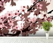 Japanese Blossom (colour photo) wallpaper mural in-room view