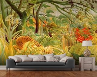 Tiger in a Tropical Storm Wall Mural Wallpaper Wall Murals Wallpaper