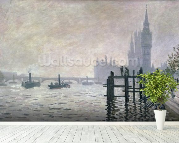 The Thames below Westminster, 1871 (oil on canvas) wallpaper mural room setting