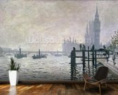 The Thames below Westminster, 1871 (oil on canvas) wallpaper mural kitchen preview