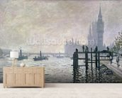 The Thames below Westminster, 1871 (oil on canvas) wallpaper mural living room preview