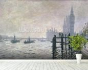 The Thames below Westminster, 1871 (oil on canvas) wallpaper mural in-room view