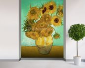 Sunflowers, 1888 (oil on canvas) mural wallpaper in-room view
