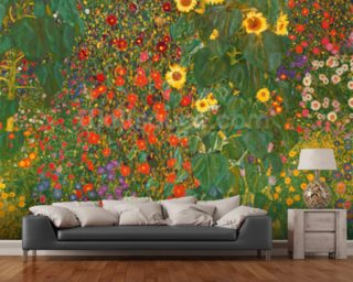 Farm Garden with Flowers Wallpaper Wall Murals