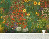 Farm Garden with Flowers (Brewery Garden at Litzlberg on the Attersee) c.1906 wall mural in-room view