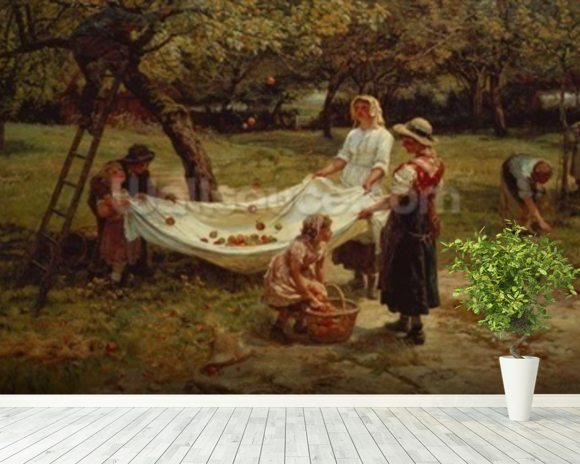 The Apple Gatherers, 1880 mural wallpaper room setting