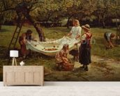 The Apple Gatherers, 1880 mural wallpaper living room preview