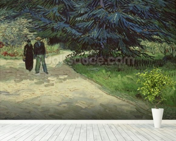 Couple in the Park, Arles, 1888 (oil on canvas) wallpaper mural room setting