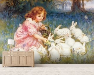 Feeding the Rabbits Wallpaper Wall Murals