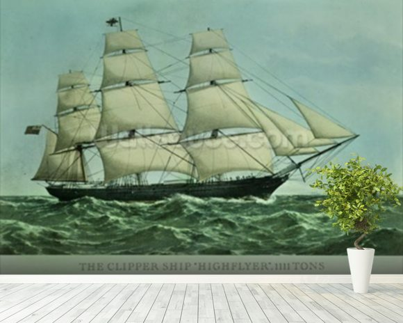 The Clipper ship Highflyer, 1111 tons (colour litho) wall mural room setting