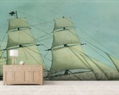 The Clipper ship Highflyer, 1111 tons (colour litho) wall mural living room preview