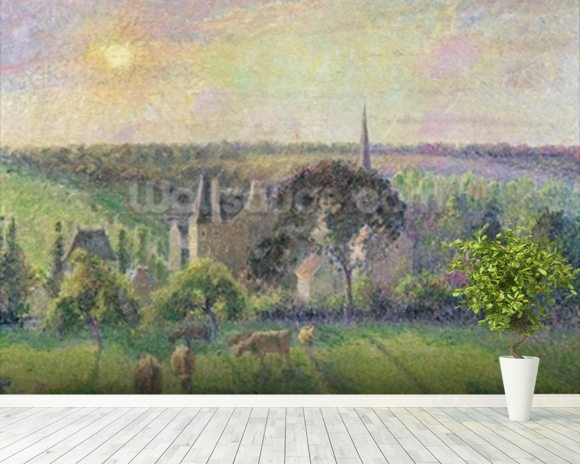 The Church and Farm of Eragny, 1895 (oil on canvas) mural wallpaper room setting