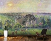 The Church and Farm of Eragny, 1895 (oil on canvas) mural wallpaper kitchen preview