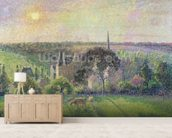 The Church and Farm of Eragny, 1895 (oil on canvas) mural wallpaper living room preview