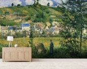 Landscape at Chaponval, 1880 (oil on canvas) wall mural living room preview