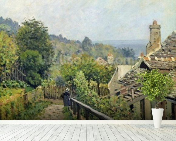 Louveciennes or, The Heights at Marly, 1873 (oil on canvas) wallpaper mural room setting