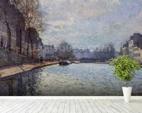 View of the Canal Saint-Martin, Paris, 1870 (oil on canvas) wall mural room setting