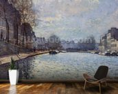 View of the Canal Saint-Martin, Paris, 1870 (oil on canvas) wall mural kitchen preview