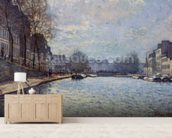 View of the Canal Saint-Martin, Paris, 1870 (oil on canvas) wall mural living room preview