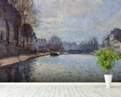 View of the Canal Saint-Martin, Paris, 1870 (oil on canvas) wall mural in-room view