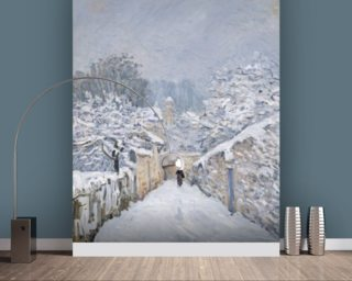 Snow at Louveciennes, 1878 (oil on canvas) wallpaper mural