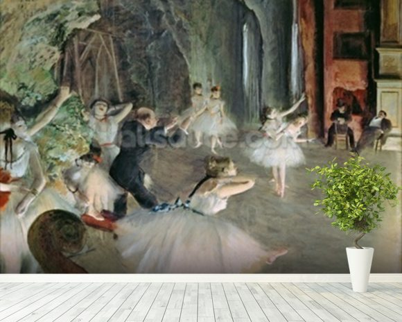 The Rehearsal of the Ballet on Stage, c.1878-79 (pastel on paper) wallpaper mural room setting