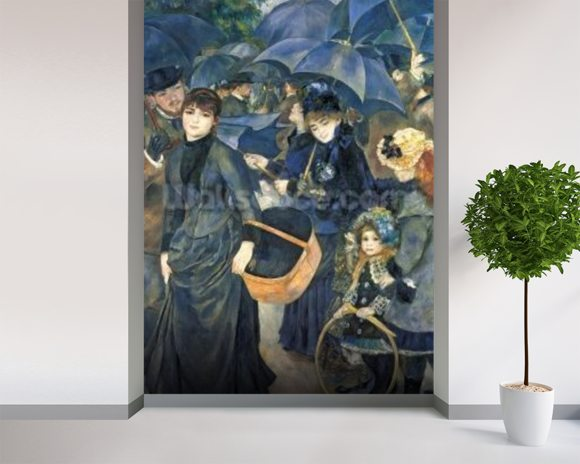 The Umbrellas, c.1881-6 (oil on canvas) mural wallpaper room setting