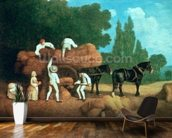 The Harvest Wagon mural wallpaper kitchen preview