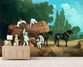 The Harvest Wagon mural wallpaper living room preview