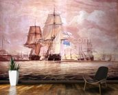 HMS Shannon leading the Chesapeake into Halifax Harbour, 1813 (w/c) mural wallpaper kitchen preview
