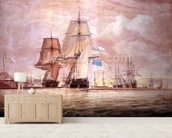 HMS Shannon leading the Chesapeake into Halifax Harbour, 1813 (w/c) mural wallpaper living room preview