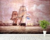 HMS Shannon leading the Chesapeake into Halifax Harbour, 1813 (w/c) mural wallpaper in-room view