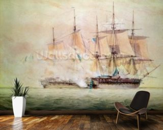 Boarding the Chesapeake (w/c on paper) wall mural