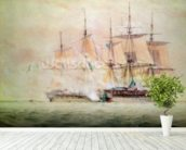 Boarding the Chesapeake (w/c on paper) wall mural in-room view