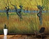 Pollarded Willows and Setting Sun, 1888 (oil on card) wall mural kitchen preview