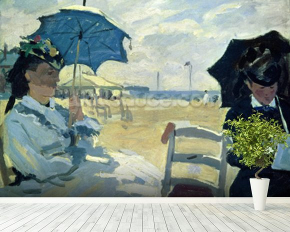 The Beach at Trouville, 1870 (oil on canvas) mural wallpaper room setting