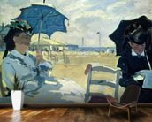 The Beach at Trouville, 1870 (oil on canvas) mural wallpaper kitchen preview