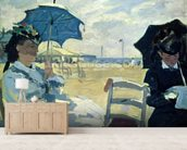 The Beach at Trouville, 1870 (oil on canvas) mural wallpaper living room preview