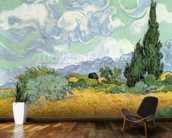 Wheatfield with Cypresses, 1889 (oil on canvas) mural wallpaper kitchen preview