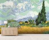 Wheatfield with Cypresses, 1889 (oil on canvas) mural wallpaper living room preview