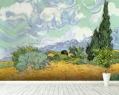 Wheatfield with Cypresses, 1889 (oil on canvas) mural wallpaper in-room view