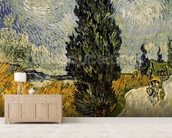 Road with Cypresses, 1890 (oil on canvas) wall mural living room preview