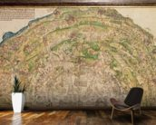 Circular map of Vienna during the Turkish siege, 1530 mural wallpaper kitchen preview