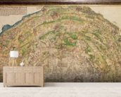 Circular map of Vienna during the Turkish siege, 1530 mural wallpaper living room preview