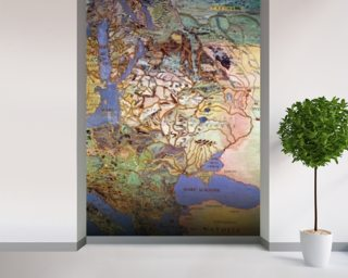 Map of Central Europe, from the Sala Del Mappamondo (Hall of the World Maps) (fresco) wall mural